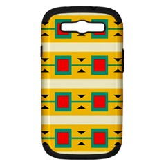 Connected Squares And Triangles samsung Galaxy S Iii Hardshell Case (pc+silicone) by LalyLauraFLM