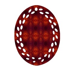 Brown Diamonds Pattern Oval Filigree Ornament (2 Side)