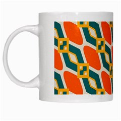 Chains And Squares Pattern White Mug by LalyLauraFLM