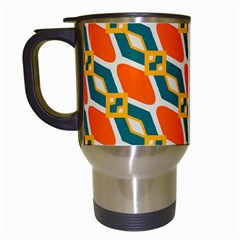 Chains And Squares Pattern Travel Mug (white) by LalyLauraFLM