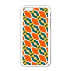Chains And Squares Pattern apple Iphone 6/6s White Enamel Case by LalyLauraFLM