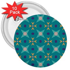 Flowers and stars pattern   			3  Button (10 pack) by LalyLauraFLM