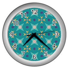 Flowers And Stars Pattern   			wall Clock (silver) by LalyLauraFLM