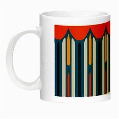 Textured Shapes In Retro Colors    Night Luminous Mug by LalyLauraFLM