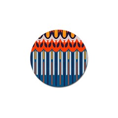 Textured Shapes In Retro Colors    golf Ball Marker by LalyLauraFLM