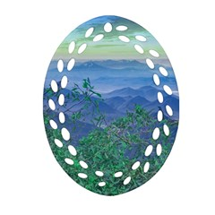 Fantasy Landscape Photo Collage Oval Filigree Ornament (2 Side)