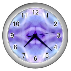 Beautiful Blue Purple Pastel Pattern, Wall Clocks (silver)  by Costasonlineshop