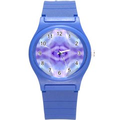 Beautiful Blue Purple Pastel Pattern, Round Plastic Sport Watch (s) by Costasonlineshop