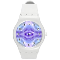 Beautiful Blue Purple Pastel Pattern, Round Plastic Sport Watch (m) by Costasonlineshop