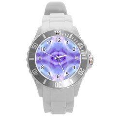 Beautiful Blue Purple Pastel Pattern, Round Plastic Sport Watch (l) by Costasonlineshop