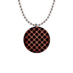 Circles2 Black Marble & Copper Brushed Metal (r) 1  Button Necklace by trendistuff