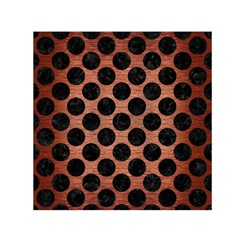 Circles2 Black Marble & Copper Brushed Metal (r) Small Satin Scarf (square) by trendistuff
