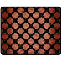Circles2 Black Marble & Copper Brushed Metal Fleece Blanket (medium) by trendistuff