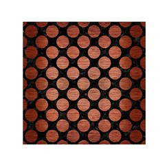 Circles2 Black Marble & Copper Brushed Metal Small Satin Scarf (square) by trendistuff