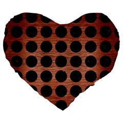 Circles1 Black Marble & Copper Brushed Metal (r) Large 19  Premium Flano Heart Shape Cushion by trendistuff