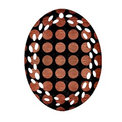 Circles1 Black Marble & Copper Brushed Metal Ornament (oval Filigree) by trendistuff