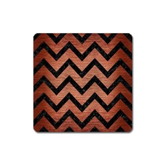 Chevron9 Black Marble & Copper Brushed Metal (r) Magnet (square) by trendistuff