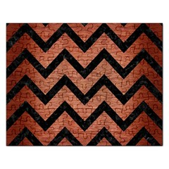 Chevron9 Black Marble & Copper Brushed Metal (r) Jigsaw Puzzle (rectangular) by trendistuff