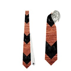 Chevron9 Black Marble & Copper Brushed Metal (r) Necktie (one Side)