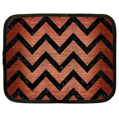 Chevron9 Black Marble & Copper Brushed Metal (r) Netbook Case (xl)