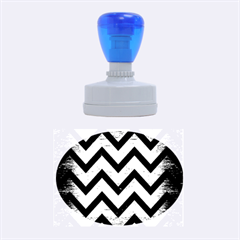 Chevron9 Black Marble & Copper Brushed Metal (r) Rubber Stamp Oval