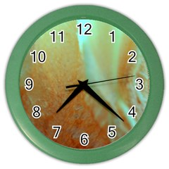 Floating Teal And Orange Peach Color Wall Clocks by timelessartoncanvas