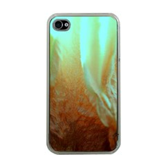 Floating Teal And Orange Peach Apple Iphone 4 Case (clear) by timelessartoncanvas