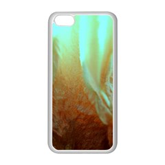 Floating Teal And Orange Peach Apple Iphone 5c Seamless Case (white) by timelessartoncanvas