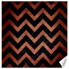 Chevron9 Black Marble & Copper Brushed Metal Canvas 12  X 12  by trendistuff