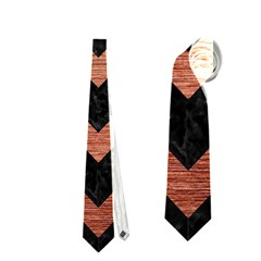 Chevron9 Black Marble & Copper Brushed Metal Necktie (two Side)