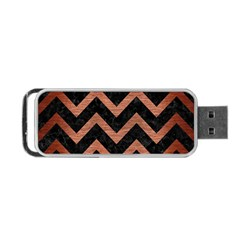 Chevron9 Black Marble & Copper Brushed Metal Portable Usb Flash (two Sides) by trendistuff