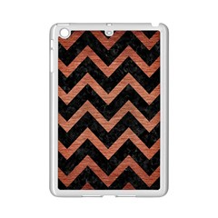 Chevron9 Black Marble & Copper Brushed Metal Apple Ipad Mini 2 Case (white) by trendistuff