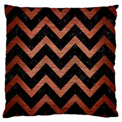 Chevron9 Black Marble & Copper Brushed Metal Large Flano Cushion Case (two Sides) by trendistuff