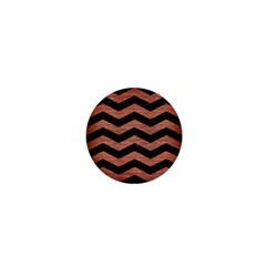 Chevron3 Black Marble & Copper Brushed Metal 1  Mini Magnet by trendistuff