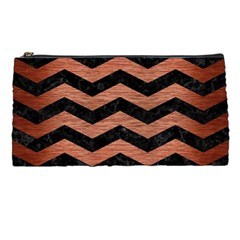 Chevron3 Black Marble & Copper Brushed Metal Pencil Case by trendistuff