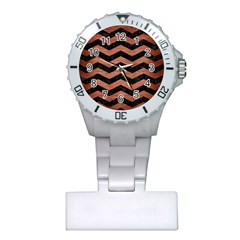 Chevron3 Black Marble & Copper Brushed Metal Plastic Nurses Watch by trendistuff