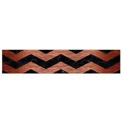 Chevron3 Black Marble & Copper Brushed Metal Flano Scarf (small)