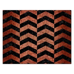 Chevron2 Black Marble & Copper Brushed Metal Jigsaw Puzzle (rectangular) by trendistuff