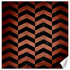 Chevron2 Black Marble & Copper Brushed Metal Canvas 12  X 12  by trendistuff