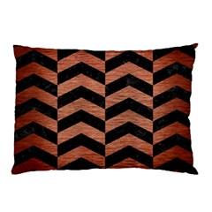 Chevron2 Black Marble & Copper Brushed Metal Pillow Case by trendistuff