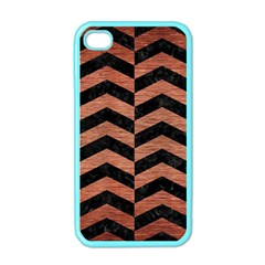 Chevron2 Black Marble & Copper Brushed Metal Apple Iphone 4 Case (color) by trendistuff