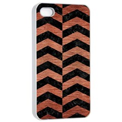 Chevron2 Black Marble & Copper Brushed Metal Apple Iphone 4/4s Seamless Case (white) by trendistuff