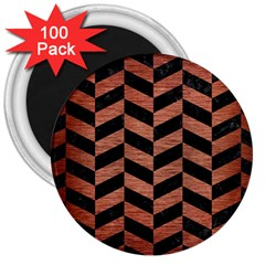 Chevron1 Black Marble & Copper Brushed Metal 3  Magnet (100 Pack) by trendistuff