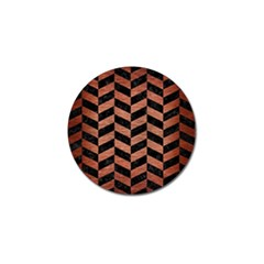 Chevron1 Black Marble & Copper Brushed Metal Golf Ball Marker (10 Pack) by trendistuff