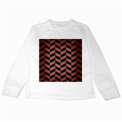 Chevron1 Black Marble & Copper Brushed Metal Kids Long Sleeve T Shirt by trendistuff