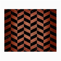 Chevron1 Black Marble & Copper Brushed Metal Small Glasses Cloth (2 Sides) by trendistuff