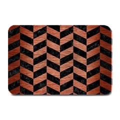 Chevron1 Black Marble & Copper Brushed Metal Plate Mat by trendistuff
