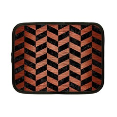 Chevron1 Black Marble & Copper Brushed Metal Netbook Case (small) by trendistuff