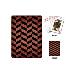 Chevron1 Black Marble & Copper Brushed Metal Playing Cards (mini) by trendistuff