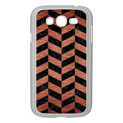 Chevron1 Black Marble & Copper Brushed Metal Samsung Galaxy Grand Duos I9082 Case (white) by trendistuff